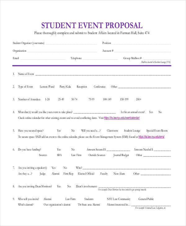 student event proposal