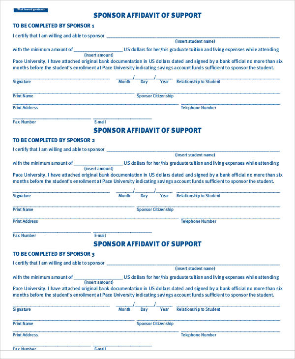 student financial affidavit form