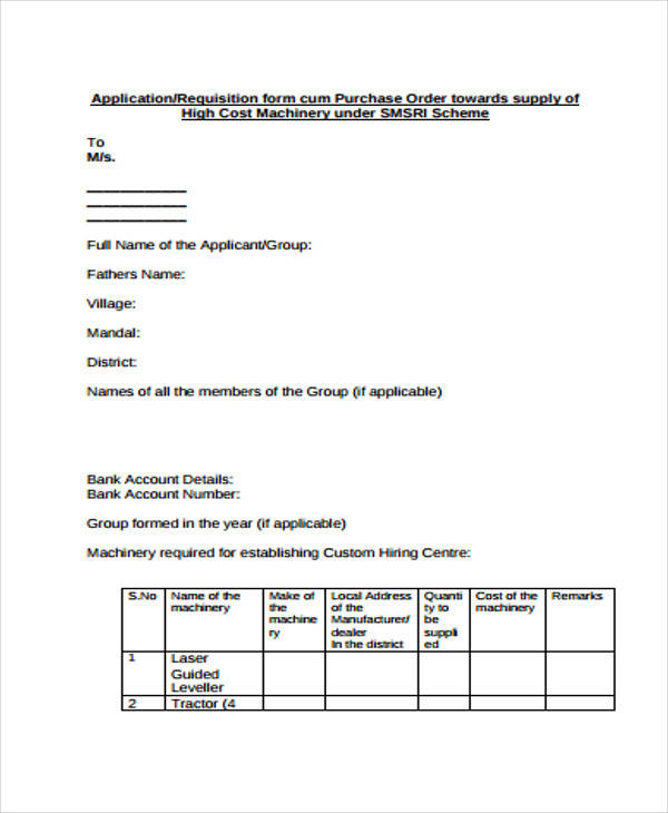 supply requisition order form