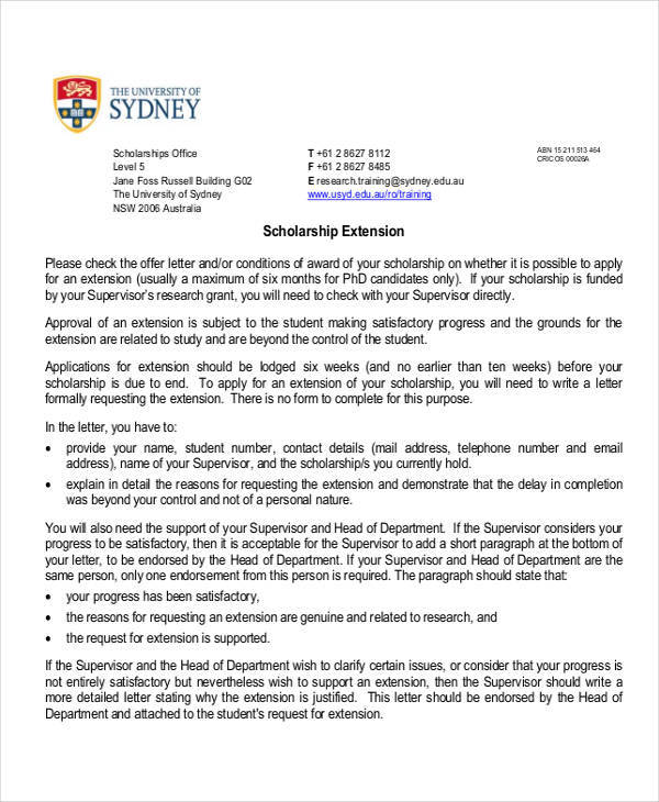support letter for scholarship extension