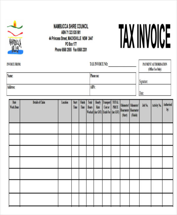tax invoice for contractor example