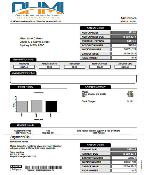 tax invoice payment slip