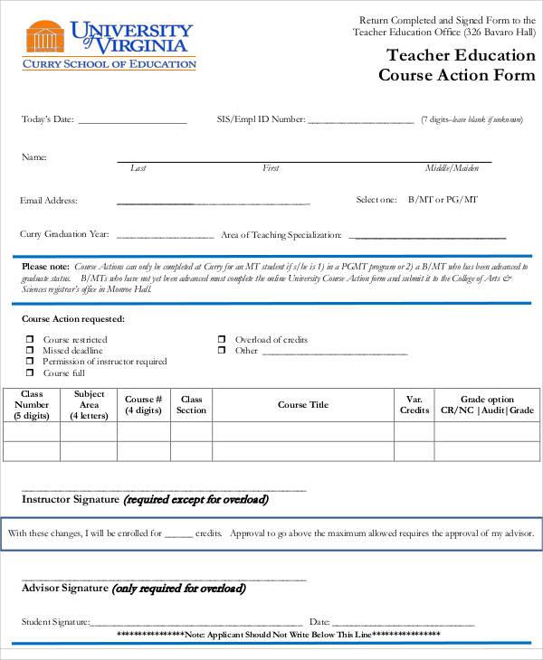 teacher education course action form