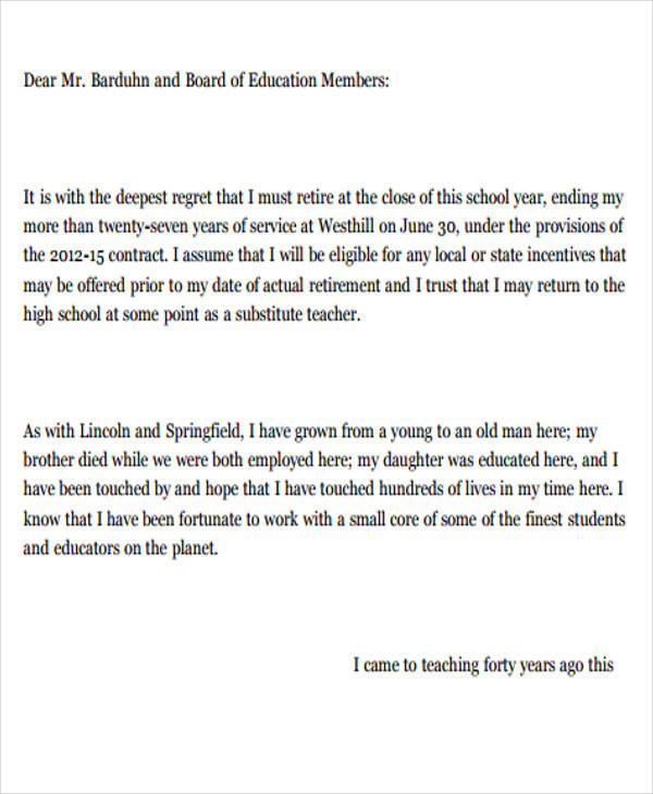 Sample School Resignation Letter  Free Sample Example Format