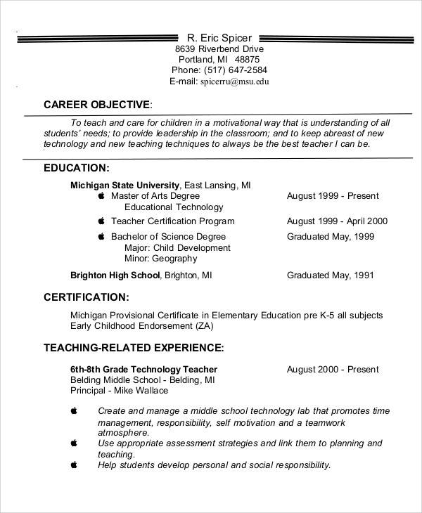 Teacher Resume Objective Objective Statement Sample For Teacher