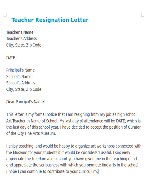 Sample Teaching Resignation Letters  Free Sample Example