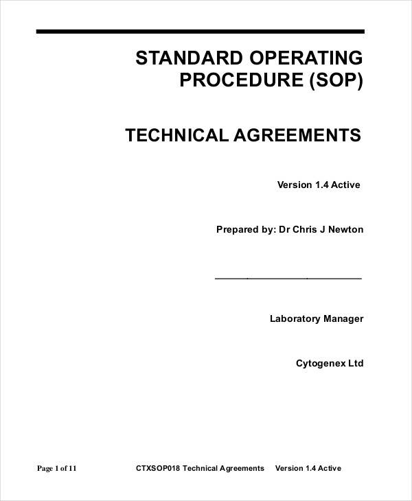 technical agreement sop