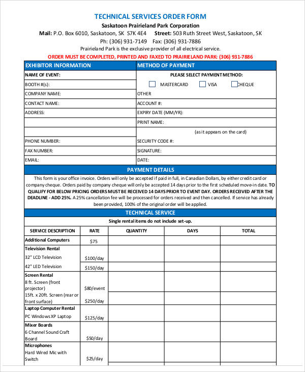 technical service order form