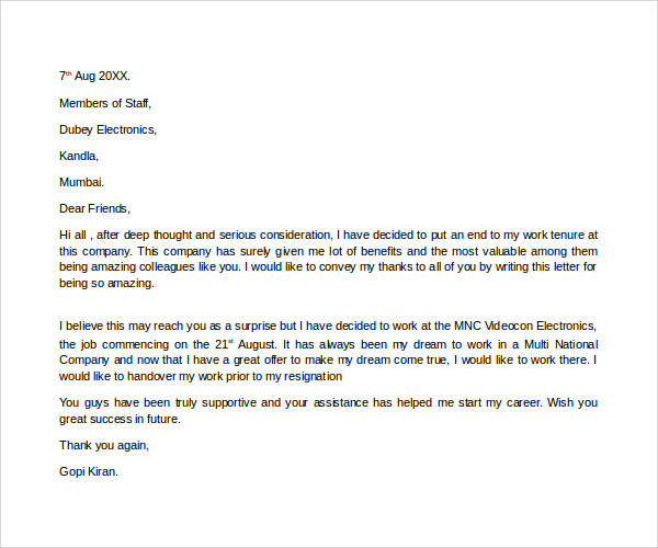 Sample letter to inform end of contract