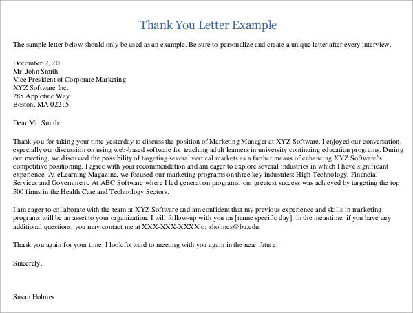 24 Sample Thank You Letter Templates To Boss Pdf Doc