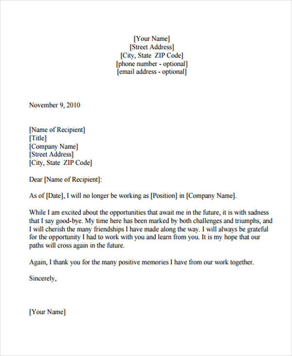 Thank You Letter Of Resignation