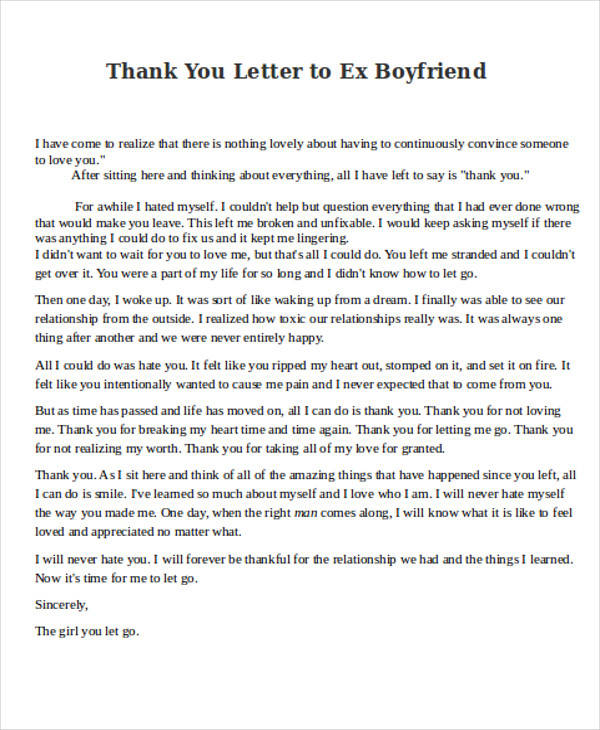 Captivating Thank You Letter To Ex Boyfriend