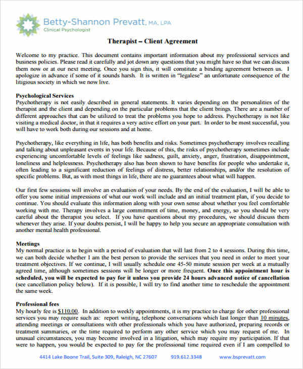 therapist client agreement