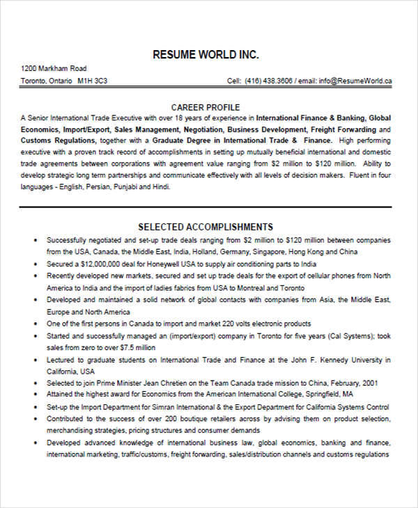 trade marketing resume