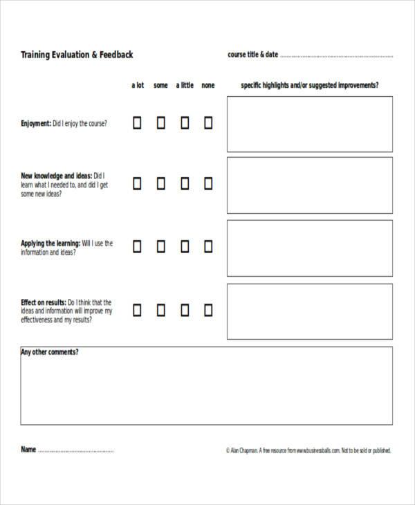 training survey feedback example form