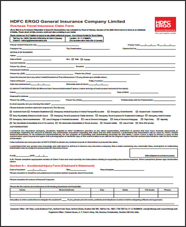 travel claim form sample
