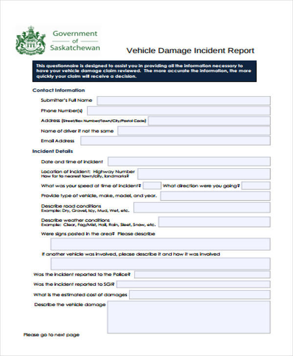 vehicle damage incident report