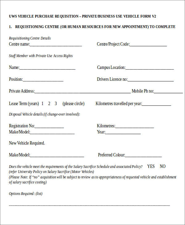vehicle purchase requisition form