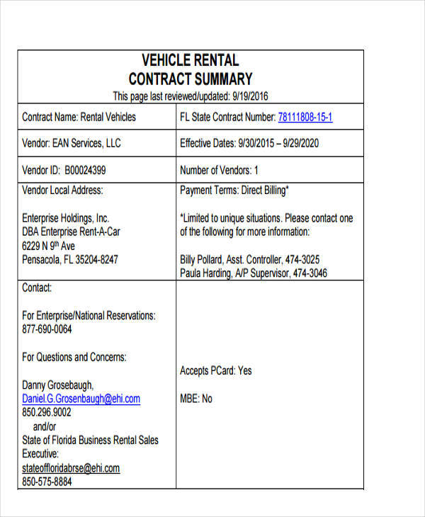 vehicle rental bill