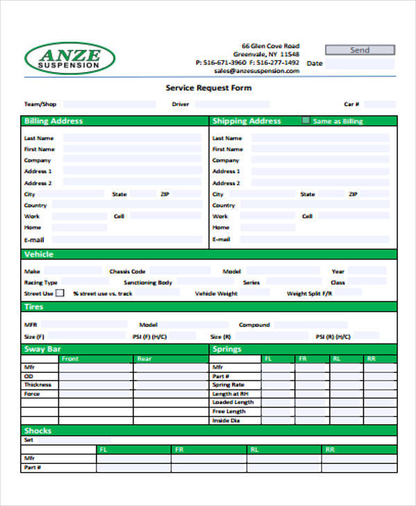 vehicle service request form format