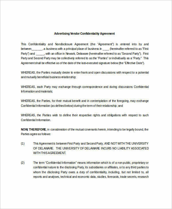 vendor advertising agreement