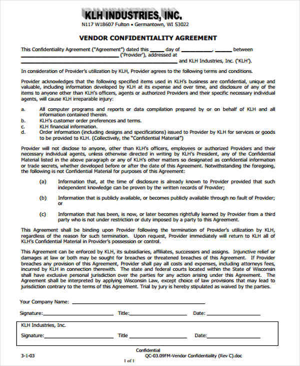 9+ Vendor Confidentiality Agreements - Free Sample, Example
