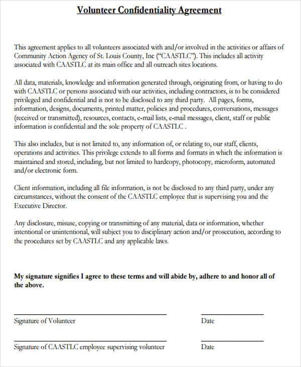 volunteer client agreement