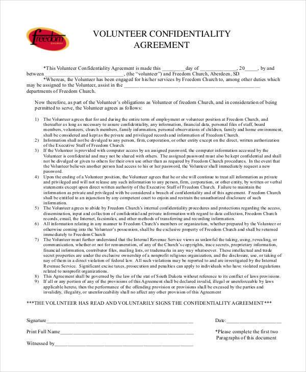 volunteer confidentiality agreement format