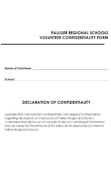 volunteer confidentiality form in ms word