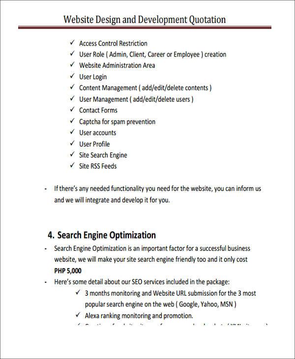 website design quotation