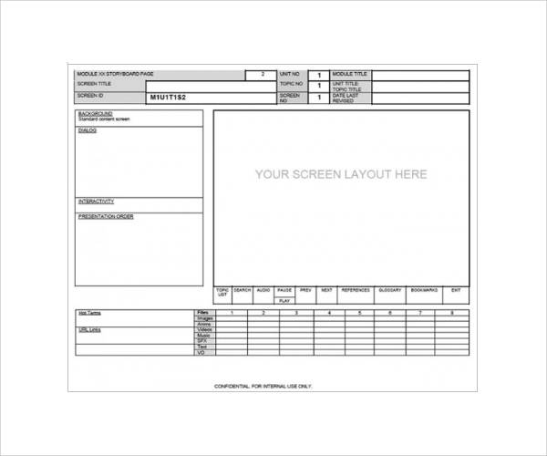 website sceen layout storyboard template