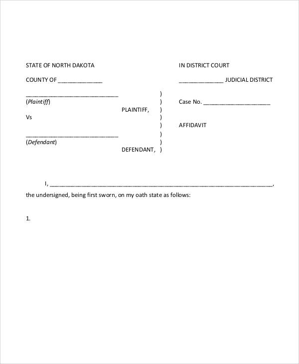 website sworn affidavit form
