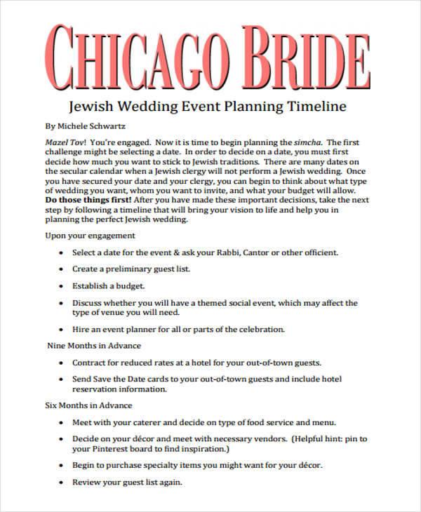 wedding event timeline
