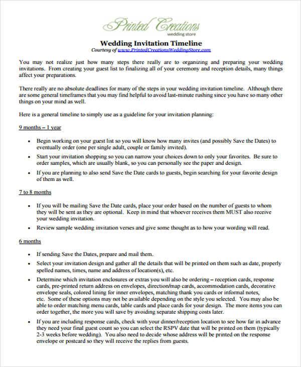 Wedding Invitation Timeline: 32+ Timeline Examples