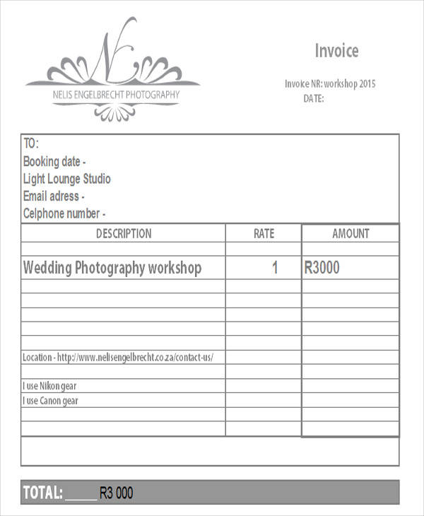 Wedding Photography Invoice: 44+ Invoices In Excel