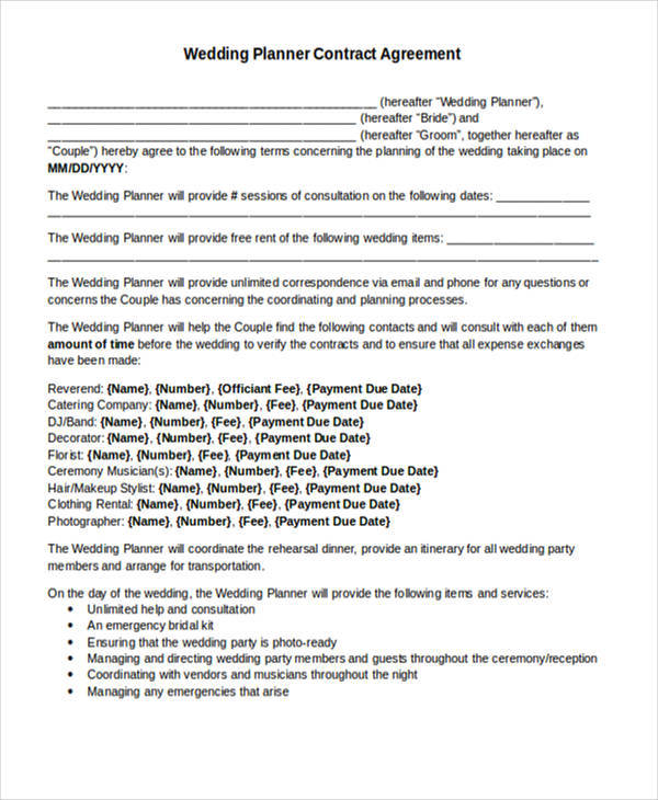 wedding planner contract agreement - Sample Wedding Planner Contract