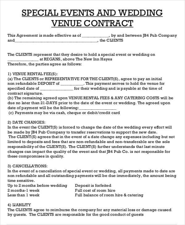 Wedding Venue Contract Agreement
