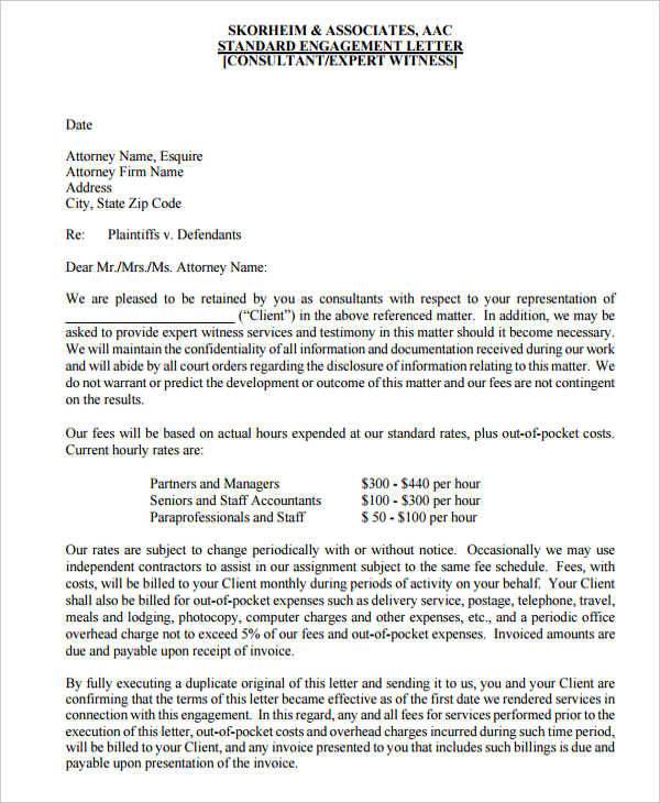 witness letter of engagement