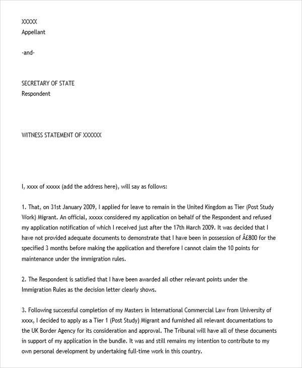 Witness Statement Template Nice Character Letter For Court Letter