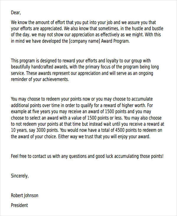 work performance appreciation letter