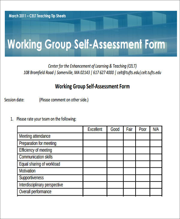 working group self assessment form