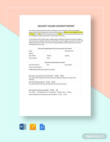 52 Incident Report Examples Docs PDF Pages