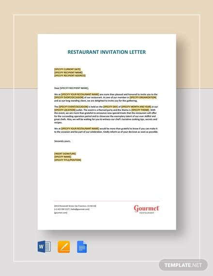 restaurant invitation letter