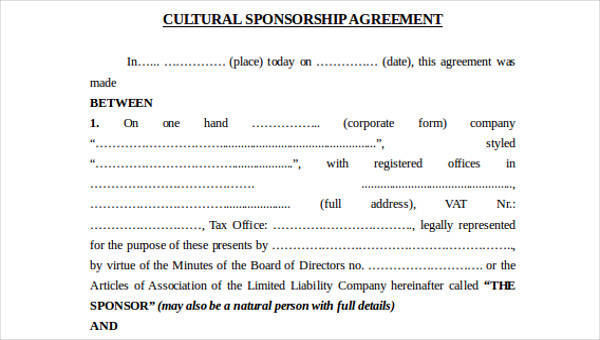9+ Sponsorship Agreements – Free Sample, Example, Format Download ...