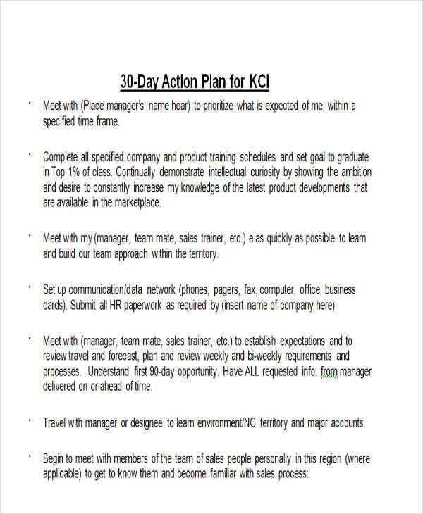 30 days action plan