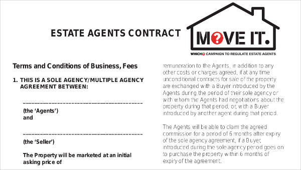 8 Agent Contract Samples Templates Sample Templates