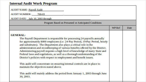 7 audit program samples  u0026 templates