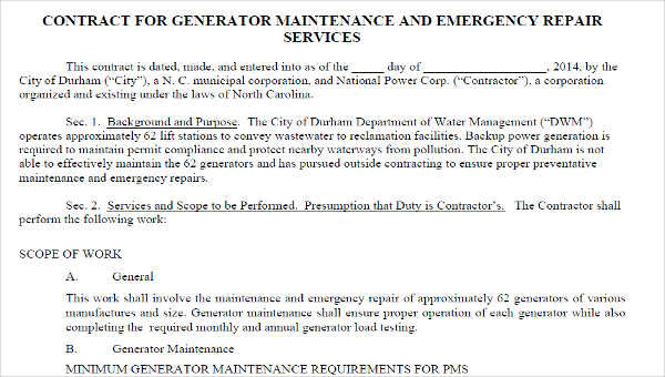 8+ Maintenance Contract Template – Free Sample, Example, Format ...