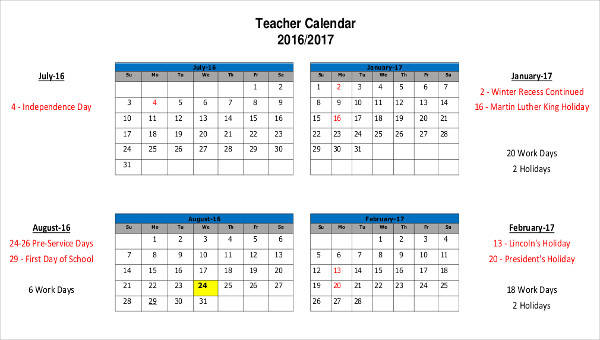 6 Teacher Calendar Templates Free Sample Example Format Download