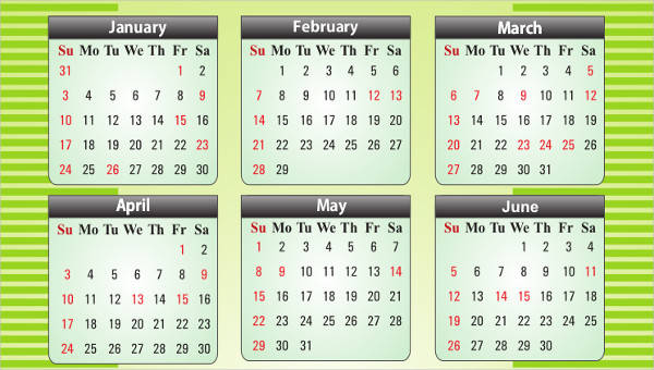 6 Office Calendar Template Free Sample Example Format Download